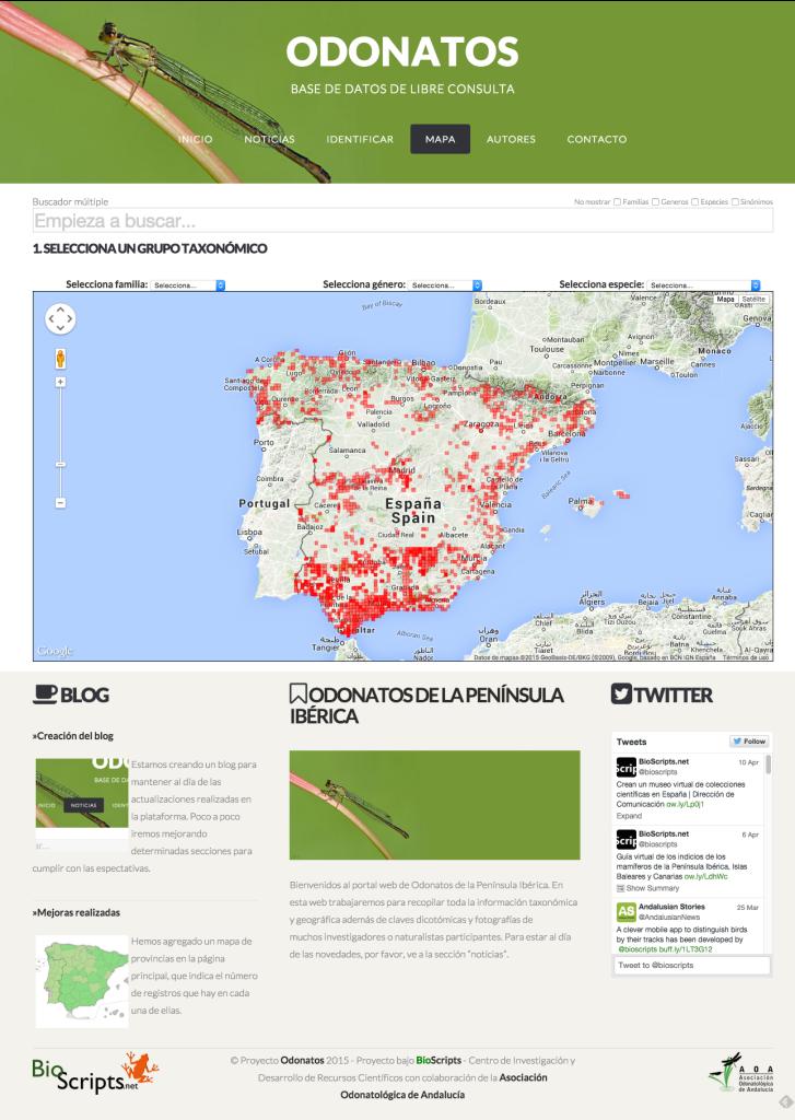 Base de Datos de Odonatos - MAPA NEW