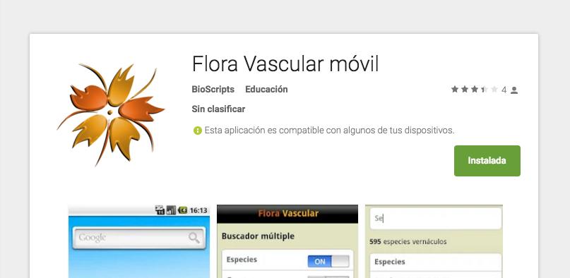 Aplicación móvil de la flora vascular en google play