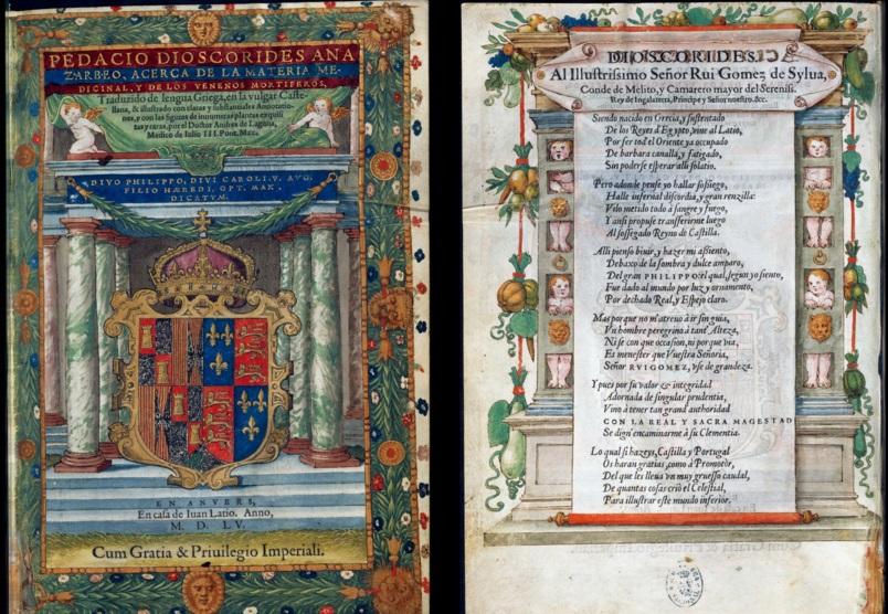 De Materia Medica impreso paraFelipe II, reyde las Españas.