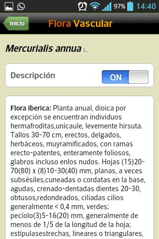 Descripción de un taxón en la aplicación móvil de la Flora Vascular