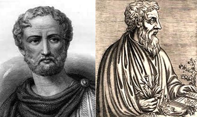 Plinio el viejo (izquierda), Dioscórides (derecha).