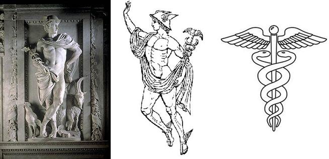 Mercurio, por el escultor flamenco del siglo XVII Artus Quellinus, fácilmente identificable por el petasus, la bolsa con cordeles, el caduceo, las sandalias con alas, el gallo y la cabra.Ayuntamiento de Ámsterdam, actualmente en el Palacio Real.