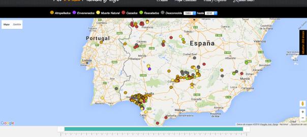 Captura del mapa de registro de muertes de linces ibéricos