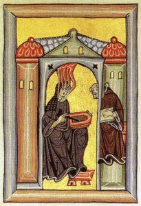 Hidelgard von Bingen recibiendo inspiración divina